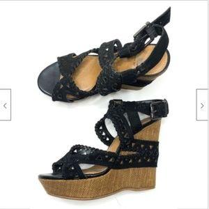 Gianni Bini Cutout Leather Wedge Platform Sandals